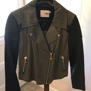 Doma Army Green And Black Leather Sleeves Jacket